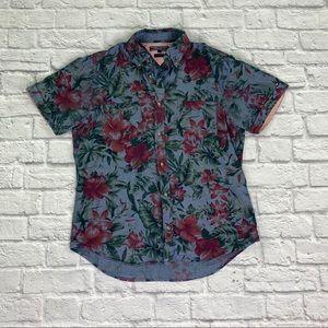 {Tommy Hilfiger} Slim Fit Button Down SS Shirt L